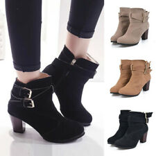 Womens Mid Block Heel Ankle Boots Ladies Casual Buckle Booties Zip Up Shoes Size