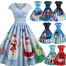 1950s Housewife Vintage Evening Party Prom  Christmas Women Short Sleeve Dress N