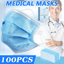 100X 3-Ply Disposable Face Surgical Medical Dental Industrial