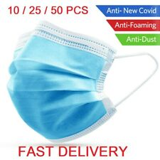 50pcs Disposable Face Guard Dust Mouth 3 Ply Cover Air purifying Maask .,
