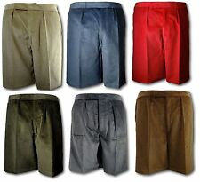 "Corduroy School Uniform Short Trousers / Shorts Elastic Back 9"" Leg Adult Sizes"