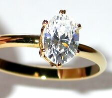 CZ SOLITAIRE RING Oval Cubic Zirconia Clear 14K Gold Plated