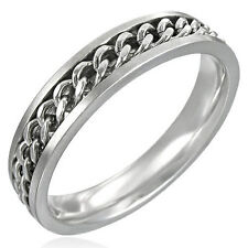 316L 6mm Steel Ring w Curb Link Chain Sizes 6-14