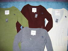 NEW ABERCROMBIE & FITCH ASST COLORS VNECK LOGO SWEATER