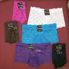 6 HOTT-N-Sexy Lacy Boyshort Panties Medium Panty Underwear #7422