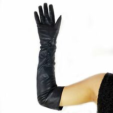 "55cm(21.6"")long wrist button leather oprea gloves*black"