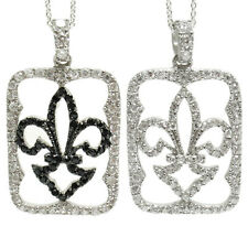 Sterling Silver Black or Clear Fleur De Lis CZ Pendant