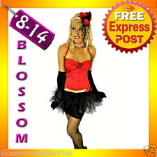 1028 Burlesque Red Moulin Rouge Boned Bustier Corset Tutu Costume 8 10 12 14