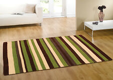 LARGE BROWN GREEN IVORY STRIPS DESIGN HAND TUFTED RUGS