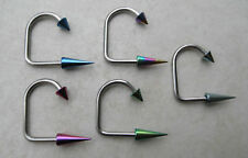 14G Titanium SPIKE Lip Loop Labrets Chin Monroe Barbell ( Chose in 5 Colors )
