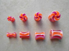 Pair UV Acrylic Candy Stripe Ear Plugs Tapers Gauges 0g - 8g