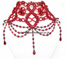 Red Black Bead Victorian Vintage Gothic Type Rouge Indie Choker Collar Necklace