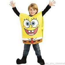 NWT SpongeBob Squarepants Boys Halloween Party Stage Play Costume L 10/12 Husky