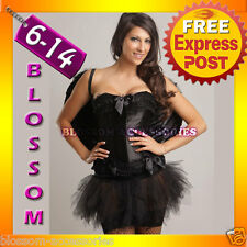 Black Dark Angel Corset Tutu Costume + Wings 8 10 12 14
