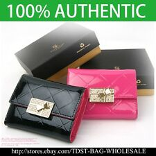 [OMNIA]Crystal Ladies Wallet Genuine Leather Trifold Purse Coins Butterfly KR378