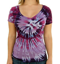 Ladies Deep V Neck Tie Dye Tri Purple Spiral Fitted T Shirt