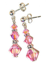 LIGHT ROSE PINK Crystal Earrings Bali Sterling Silver Dangle Swarovski Elements
