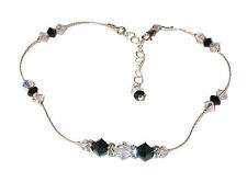 Fancy SWAROVSKI Elements CRYSTAL ANKLET Sterling Silver JET BLACK & CLEAR AB