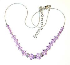 SWAROVSKI Elements CRYSTAL NECKLACE Sterling Silver VIOLET Light Purple