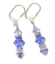 2-tone BLUE SAPPHIRE Crystal Earrings Dangle Sterling Silver Swarovski Elements