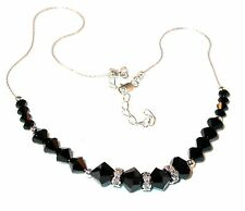 Handcrafted JET BLACK CRYSTAL NECKLACE Sterling Silver Swarovski Elements