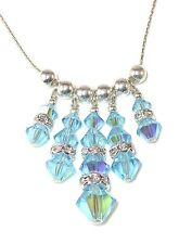 AQUAMARINE Blue Crystal Necklace Sterling Silver Fringe Swarovski Elements