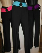 NWT Bootcut matte spandex  black jazz pants w/attached belt colors girls/ladies