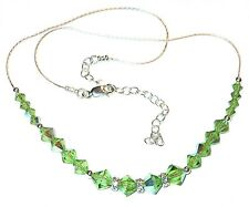 SWAROVSKI Elements CRYSTAL NECKLACE Sterling Silver PERIDOT GREEN