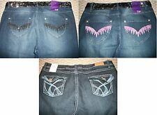 NWT WOMEN'S EMBROIDERED SEQUIN BOOTCUT DENIM JEANS PLUS SIZE 14 16 18 20 22