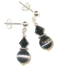 Crystal & Cat's Eye JET BLACK Earrings Sterling Silver Dangle Swarovski Elements