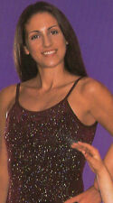 NWT Bodywrappers Glittered Slinky Dance Camisole top Girls Wine Purple
