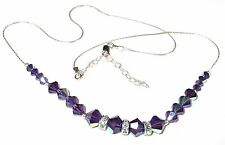 Deep PURPLE VELVET Crystal Necklace Sterling Silver Swarovski Elements