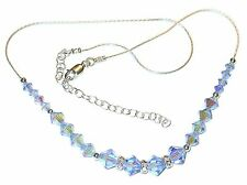 LIGHT BLUE SAPPHIRE Crystal Necklace Sterling Silver Swarovski Elements