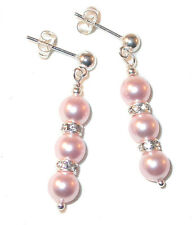 ROSALINE PINK Pearl Earrings Bridal Swarovski Crystal Elements Sterling Silver