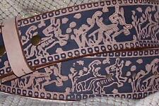 "2 Tone BROWN Aztec TOOLED Wide 1.75"" BELT Strap Only 30 32 34 36 38 40"