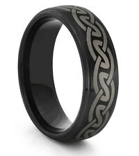 8MM Tungsten Carbide Mens Black Celtic Knot Wedding Band Ring