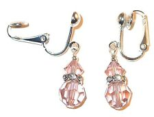 VINTAGE ROSE Crystal Earrings Sterling Silver Dangle Swarovski Elements