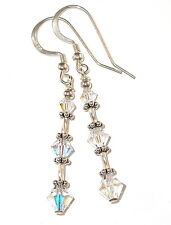 SWAROVSKI CRYSTAL ELEMENTS Sterling Silver Dangle Earrings CLEAR AB
