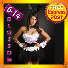 Ladies White Playboy Bunny Rabbit Fancy Dress Costume Outfit, Ears, Cuffs & Tutu