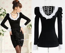 Japan fashion punk Rock gothic Lolita Lace Collar top Blouse Shirt Black S~XL