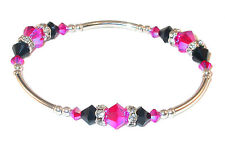 Stretch HOT PINK & JET BLACK Crystal Bracelet Sterling Silver Swarovski Elements