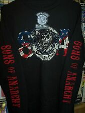 SONS OF ANARCHY REAPER AND FLAG LONG SLEEVE T-SHIRT NEW !