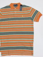 New tag NWT Ralph Lauren Mens Orange Stripe Green White SS Polo Shirt Mesh S L