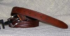 """CLAIBORNE Brown WEAVE Bonded LEATHER 1"""" Dress Casual BELT 32 34 40"""