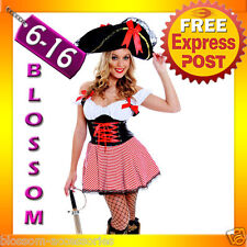 G15 Ladies Caribbean Pirate Wench Outfit Fancy Dress Halloween Party Costume&Hat