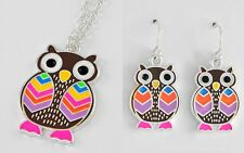 NEW MULTI COLOR OWL PENDANT NECKLACE OR DANGLE EARRINGS SILVERTONE