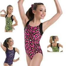 NEW Colorful Cheetah Leopard Black Metallic Dance Gymnastics Leotard Child Adult