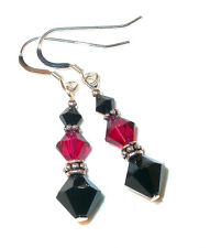 JET BLACK & RUBY RED Crystal Earrings Bali Sterling Silver Swarovski Elements