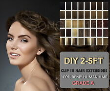 2FT 3FT 4FT DIY Weft Clip in Human Hair Extensions