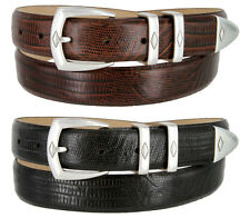 "Canyon Mens Calfskin Leather Golf Dress Belt 1-1/8"" Wide, Lizard Black Brown"